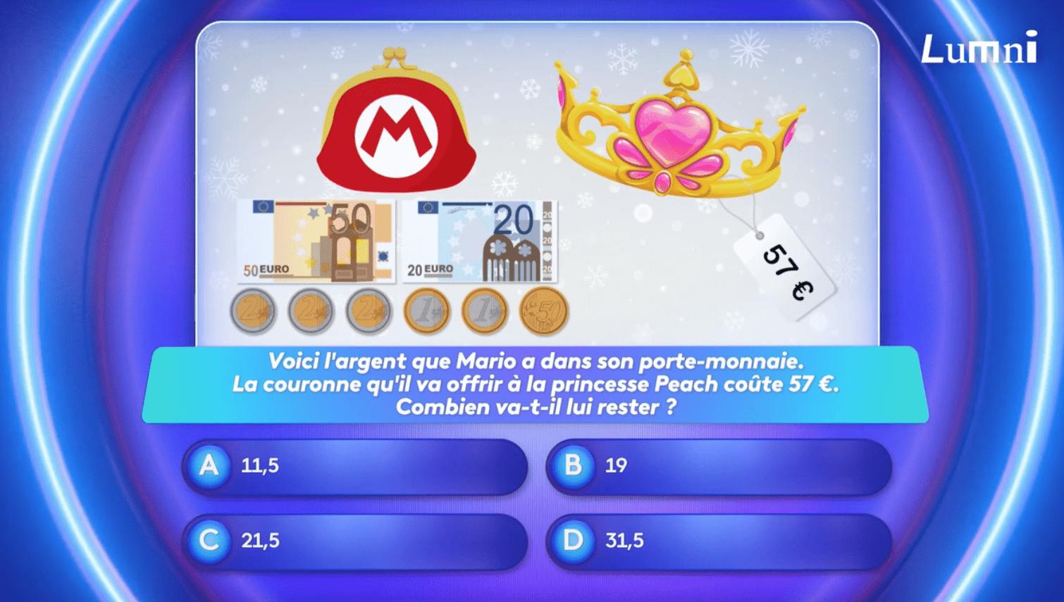question mathématiques sur le jeu Mario Bros - le jeu Lumni avec Alexis et Lou