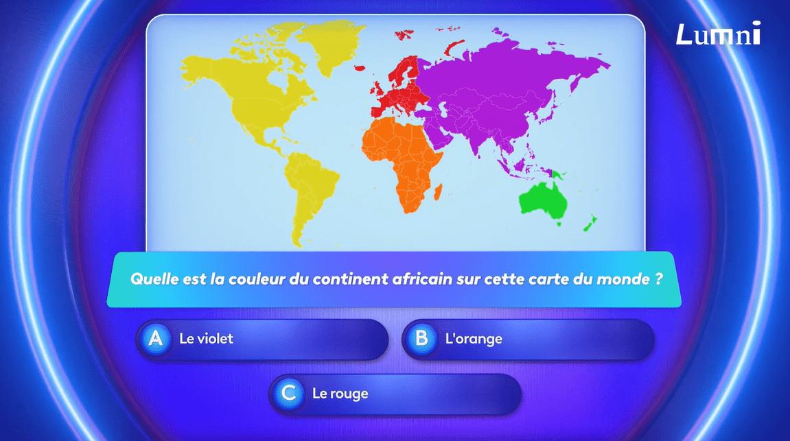 il y a une mappemonde de différentes couleurs, violet, orange, rouge, jaune et vert