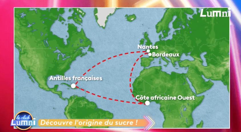 Les itinéraires maritimes du commerce triangulaire au XVIe et XVIIe siècles